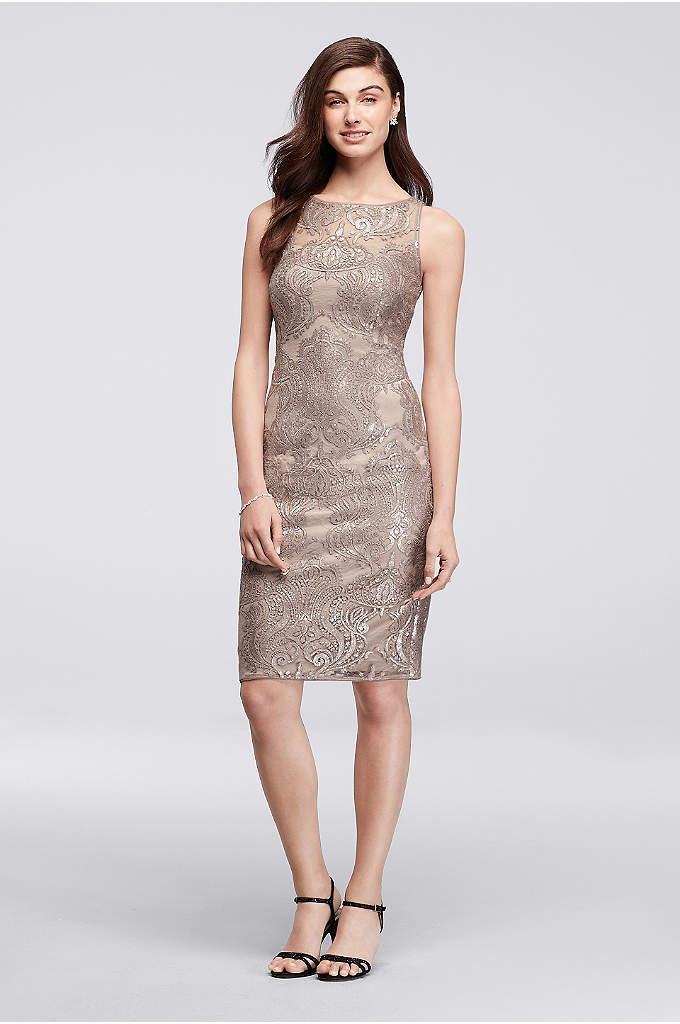 Baroque Sequin Lace Short Dress - Ornate baroque-inspired lace creates graceful flourishes across this