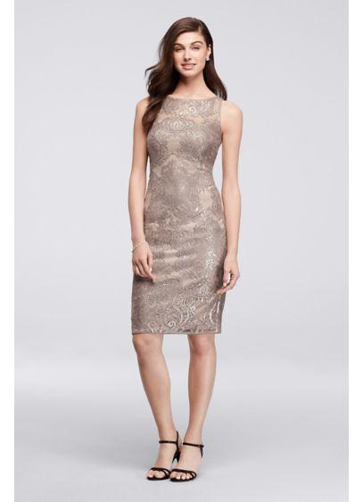 Short Grey Soft & Flowy Adrianna Papell Bridesmaid Dress