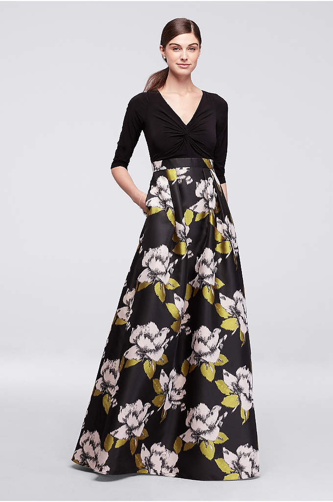 Long Dress with Bold Floral Skirt and 3/4 - This striking long dress is designed with a