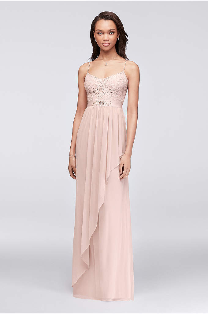 Lace and Cascading Mesh Bridesmaid Dress - A lovely combination of lace and airy mesh,