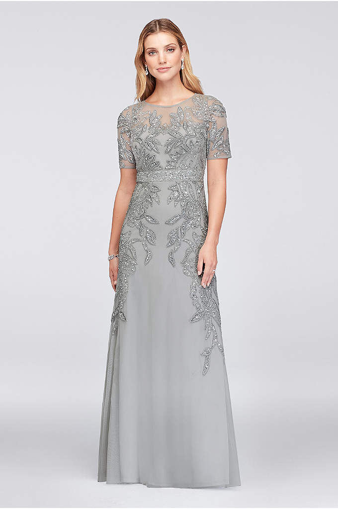 Vine-Beaded Mesh Gown with Elbow-Length Sleeves - Embellished with beautifully beaded vines and shimmering sequins