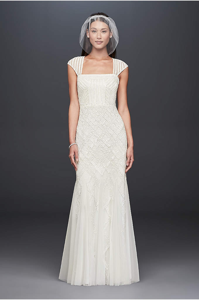 Square-Neck Mesh Sheath Gown with Allover Beading - Channel the Roaring 20s in this cap-sleeved, flapper-inspired