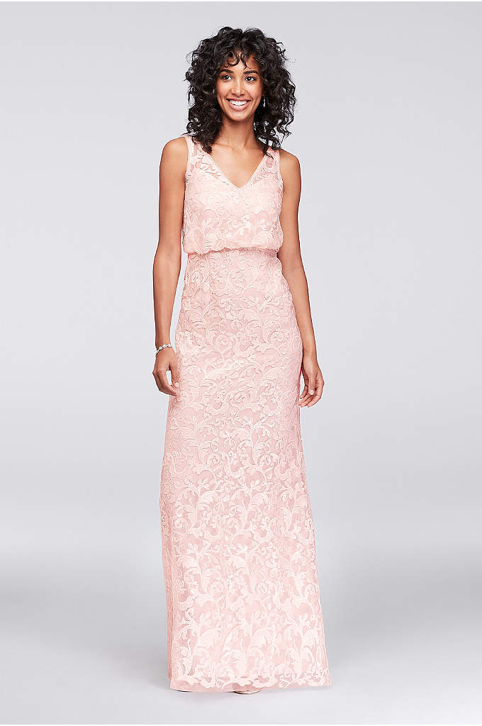V-Neck Sequin Blouson Bridesmaid Dress - With a sequined illusion V-neck tank bodice and