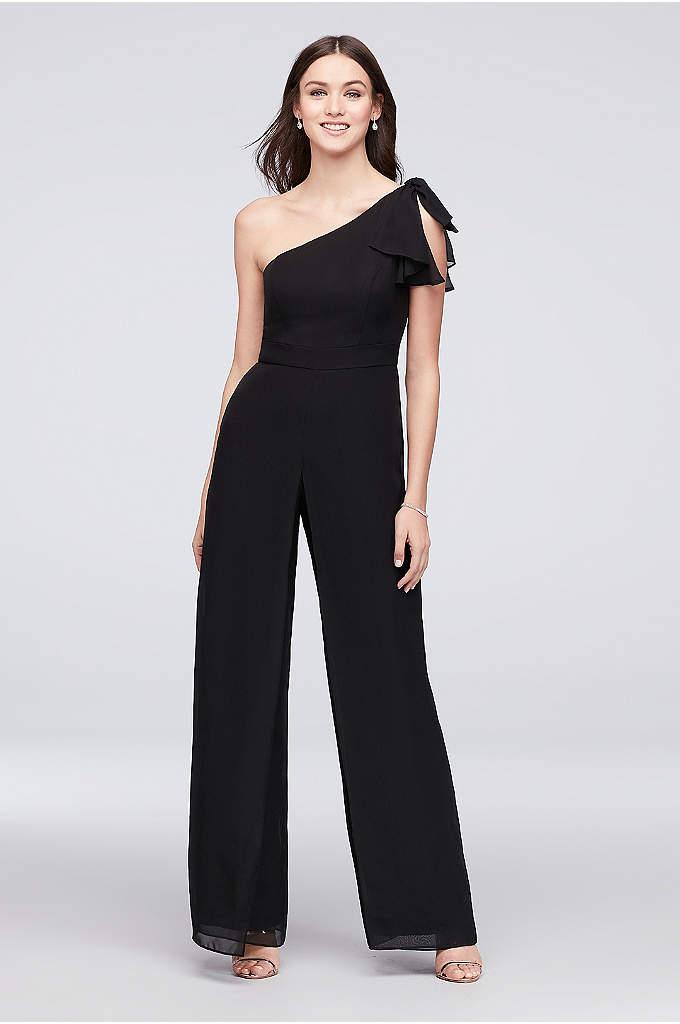 One-Shoulder Chiffon Bridesmaid Jumpsuit - A fashion-forward look for 'maids, this asymmetrical-neckline jumpsuit