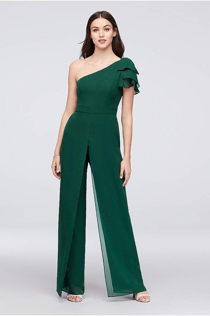 One-Shoulder Chiffon Bridesmaid Jumpsuit - A fashion-forward look for 'maids, this asymmetrical-neckline jumpsuit