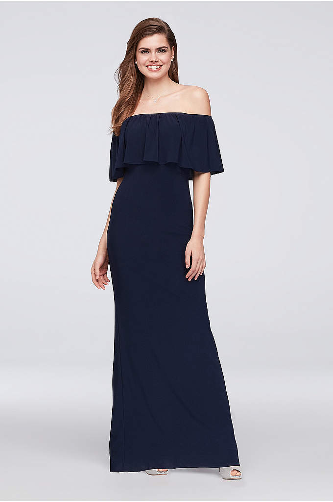 Off-the-Shoulder Jersey Bridesmaid Dress - For an effortless bridal party look, choose this