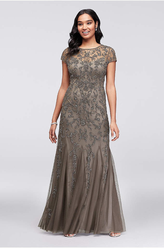 Short Sleeve Beaded Illusion Gown with Godet Skirt - Intricate beaded scrolls of leaves and flowers bloom