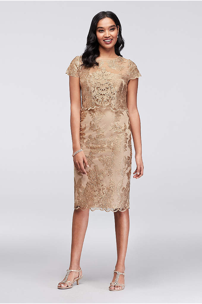 Short Metallic Lace Illusion Popover Dress - Metallic floral lace blooms from hem to scoop