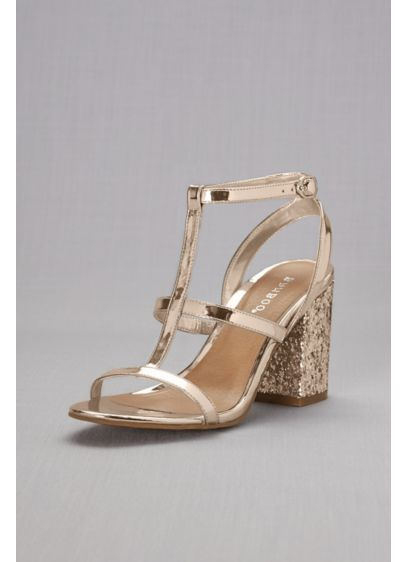 Bamboo Grey (Block-Heel Strappy Sandals with Chunky Glitter)