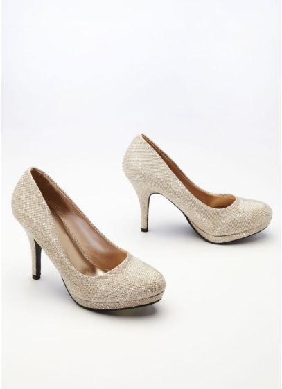 Beige (Glitter Mesh Pump with Platform)