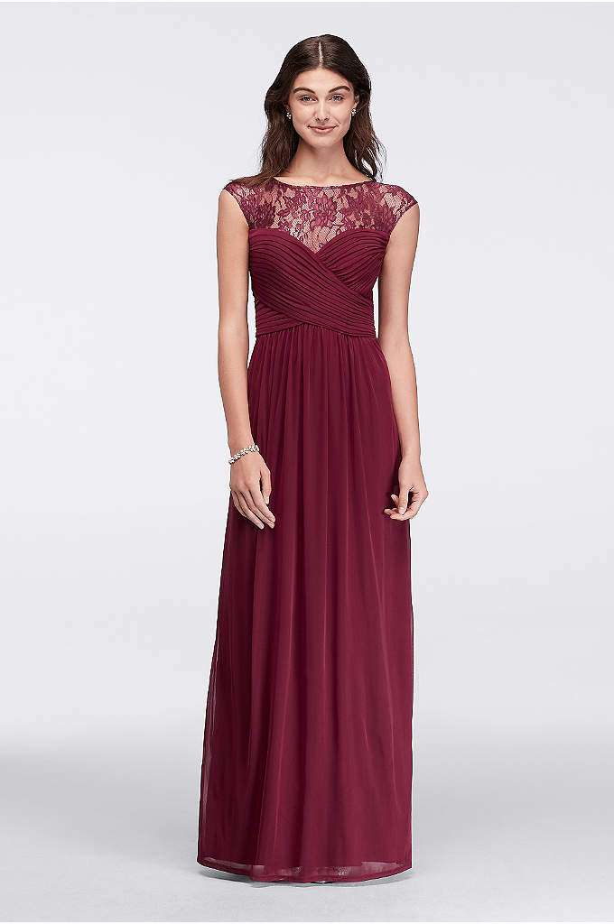 Long Ruched Bodice Gown with Illusion Lace Yoke - Designed in stretch jersey for a beautiful drape