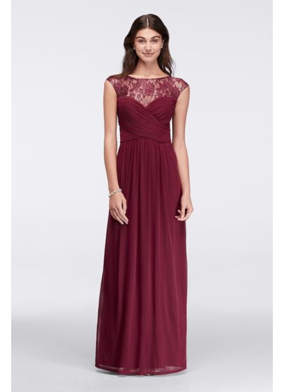 Long A-Line Wedding Dress - Sangria