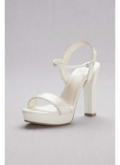 Ivory (Pearlized Platform Sandals with Scalloped Edges)