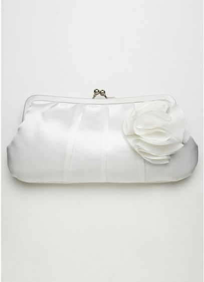 Clutch Handbag with Chiffon Flower Detail - Wedding Accessories