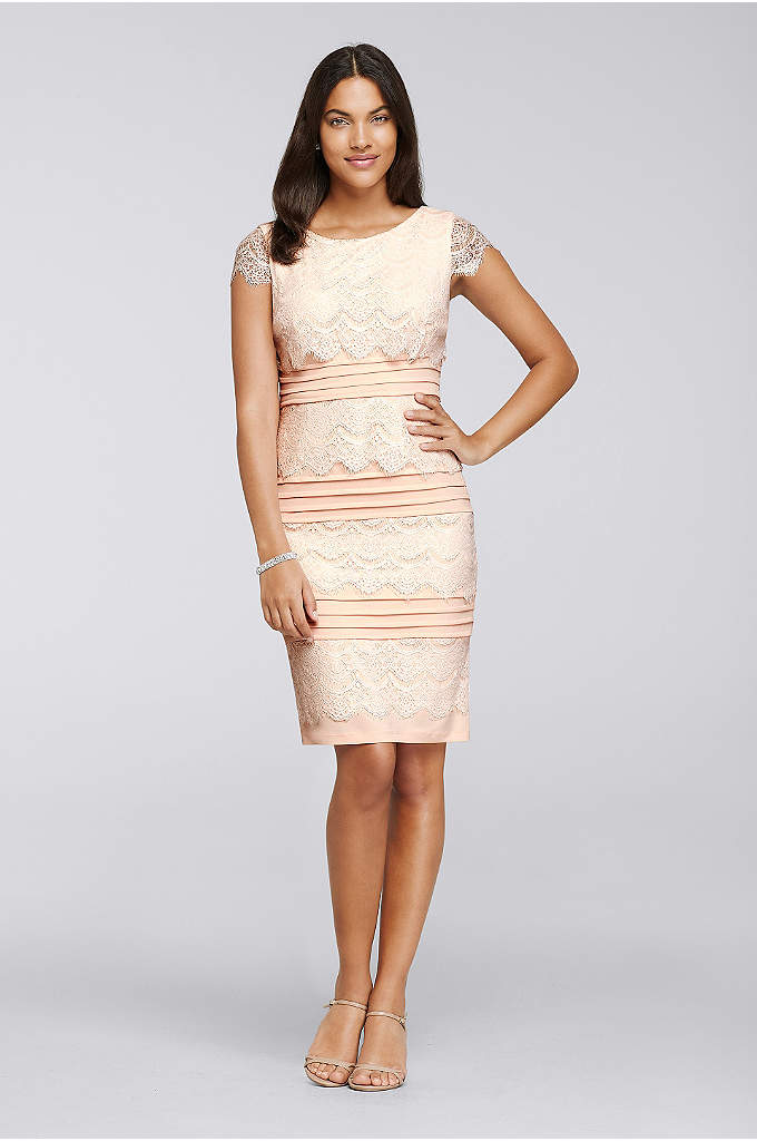 Banded Short Dress with Lace Cap Sleeves