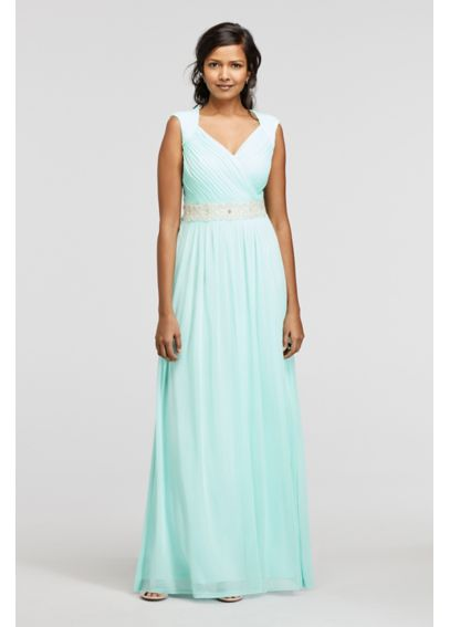 Long Jersey Ruched Bodice Dress with Beaded Waist ASWJU1AMZ