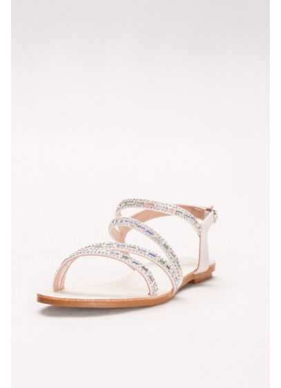 David's Bridal White (Asymmetric Strap Sandals with Crystal Details)