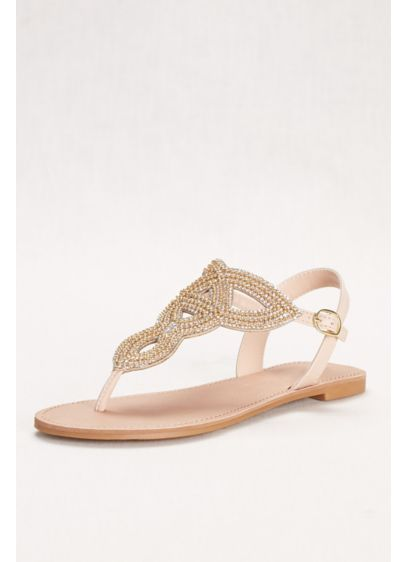 David's Bridal Ivory (Swirling Bead and Crystal T-Strap Sandal)