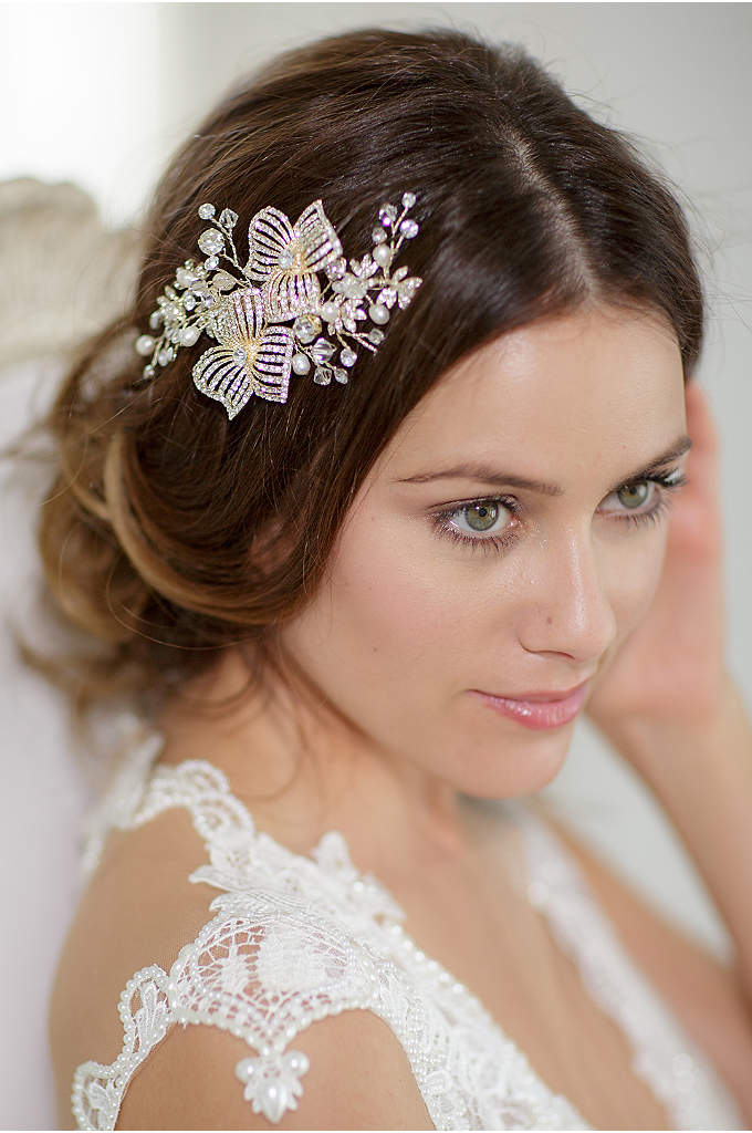Hand-Wired Double Flower Crystal Hair Comb - Crystal-encrusted flowers are detailed with rhinestone and filigree