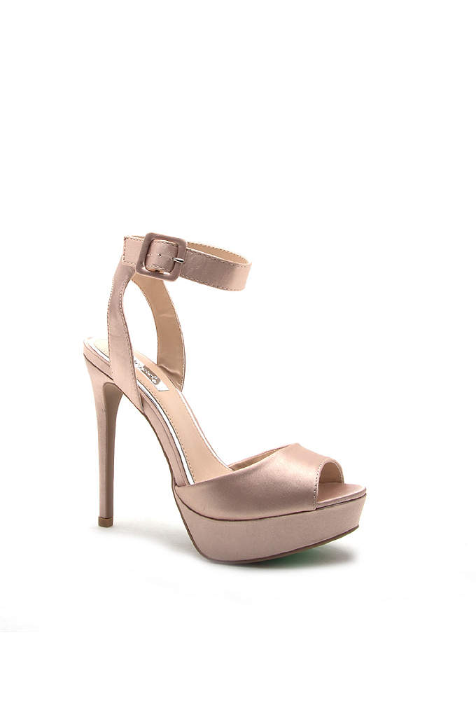 Satin Ankle-Strap Peep-Toe Platform Heels - Featuring an ankle strap and statement-making platform, these