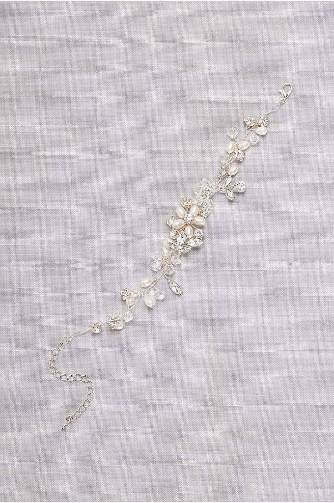 Botanical Crystal and Pearl Bracelet - Lustrous pearls and faceted crystals form gleaming blossoms