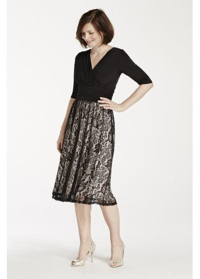 3/4 Sleeve Jersey Dress with Floral Lace Skirt AWDWE95