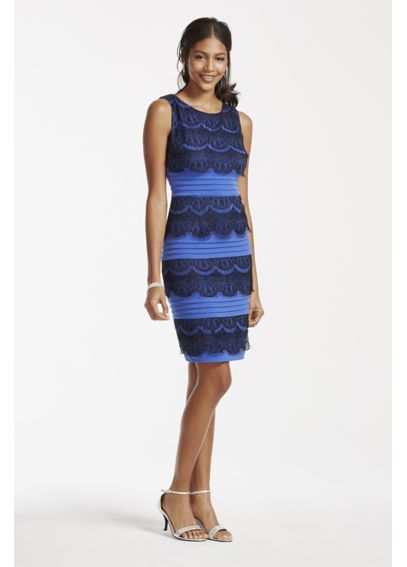 Sleeveless Banded Jersey Dress with Lace Tiers AWIFC09M