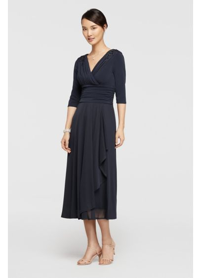 Tea Length A-Line Elbow Sleeves Cocktail and Party Dress - Sangria
