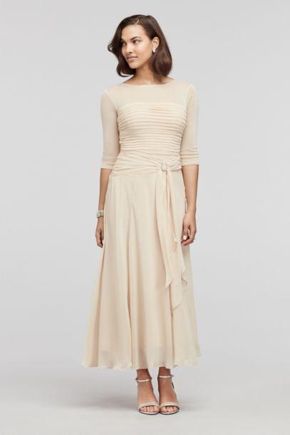 Tea Length Chiffon Dress with Sash Detail - Davids Bridal