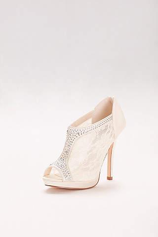 Zapatos de Tacón Alto de Encaje Con Cristales.