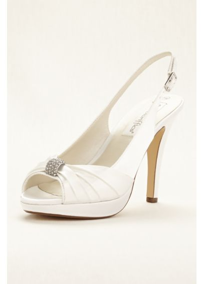 Satin Platform Slingback with Pleats and Rhinestones by Coloriffics Avalon