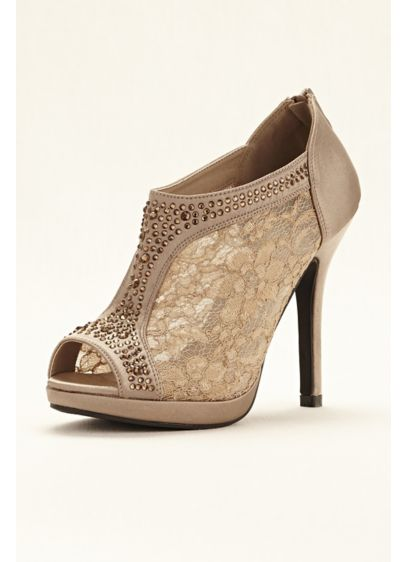David's Bridal Beige (Lace High Heel Shootie with Crystals)