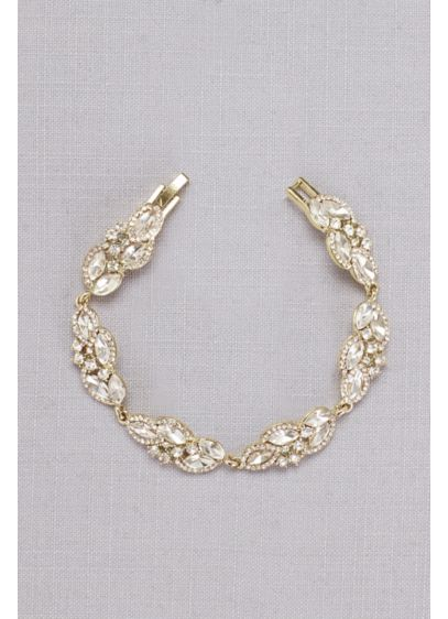 Faceted Crystal Leaves Bracelet - Wedding Accessories