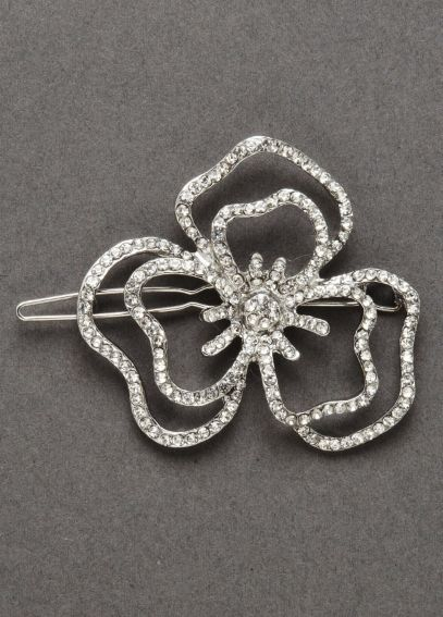 Crystal Open Flower Barrette B105