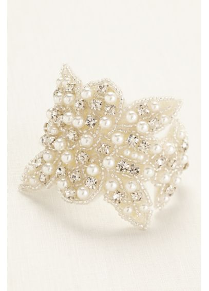 Pearl and Crystal Embellished Fabric Bracelet B29628