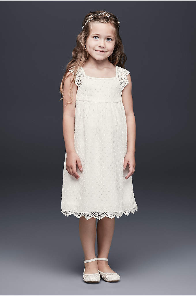 Swiss Dot Flower Girl Dress with Crochet Trim - A sweetly detailed frock for the little miss,