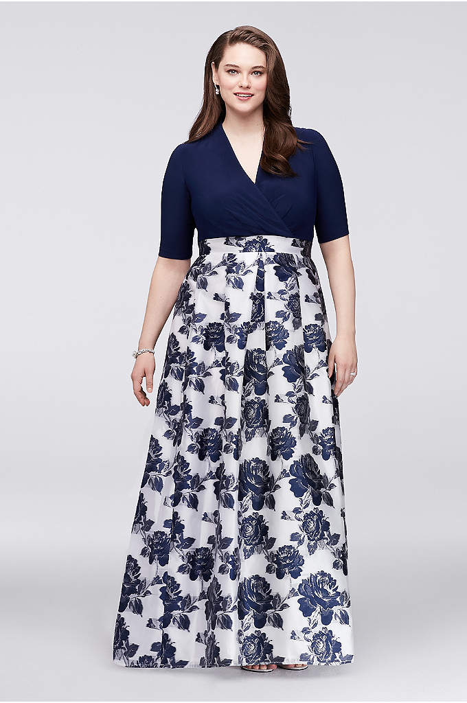 Surplice Plus Size Ball Gown with Jacquard Skirt - Shimmering with a metallic floral-jacquard skirt, this classic