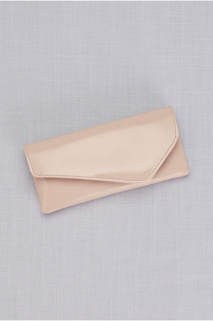 Patent Angle Fold Clutch - A sleek handbag for your essentials, this patent
