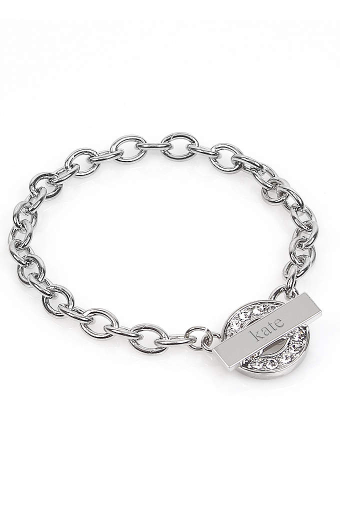 Personalized Rhinestone Toggle Bracelet - Our Personalized Rhinestone Toggle Bracelet is absolutely darling.