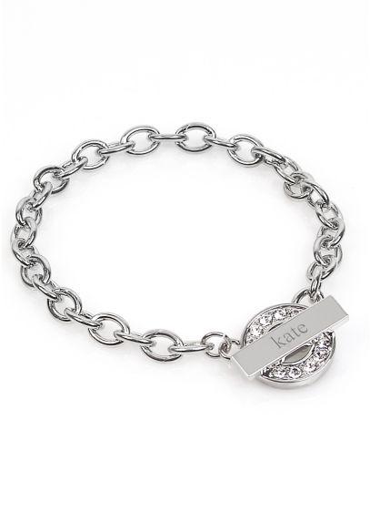 Personalized Rhinestone Toggle Bracelet - Wedding Gifts & Decorations