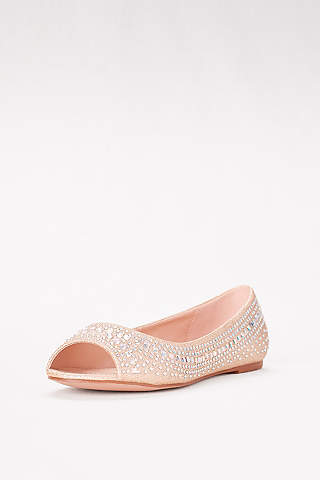 Nude Casual Slip On Only Formal Glitter Closed Round Toe Womens Flats Size 6.5