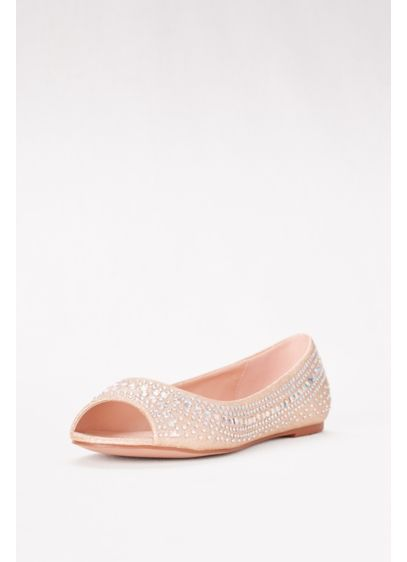 Blossom Beige (Embellished Peep Toe Flats)