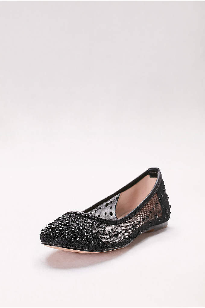 Mesh Ballet Flats with Scattered Crystals - A scattering of crystals elevates these sheer mesh