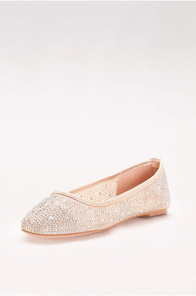 Mesh and Scattered Crystal Ballet Flats - These versatile, crystal-detailed mesh ballet flats pair perfectly