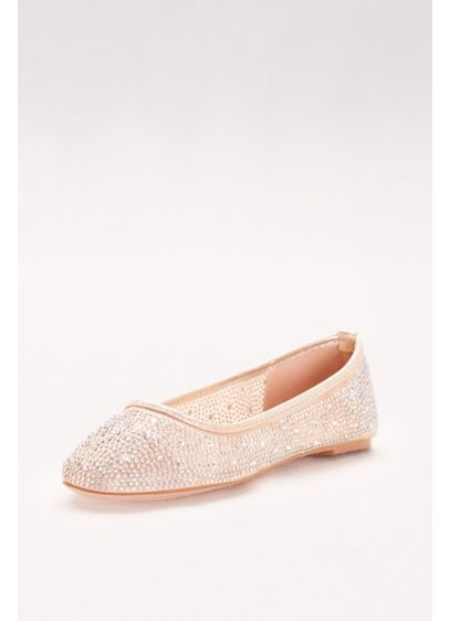 David's Bridal White (Mesh and Scattered Crystal Ballet Flats)