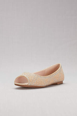 Blossom Beige (Studded Pearl and Crystal Peep-Toe Flats)