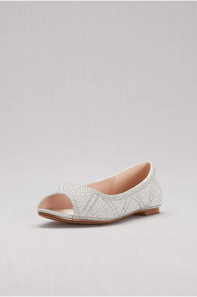 Studded Pearl and Crystal Peep-Toe Flats - Geometrically placed pearls and crystals give these sweet