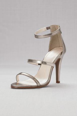 Triple-Strap Metallic Stiletto Sandals | David's Bridal | Tuggl
