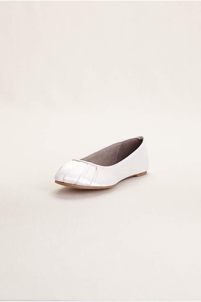 Dyeable Satin Pleated Toe Ballet Flat - Dyeable pleated toe ballet flats are elegantly simple