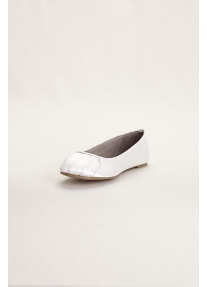 David's Bridal White (Dyeable Satin Pleated Toe Ballet Flat)